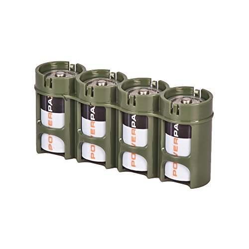 (Storacell by Powerpax SlimLine C Battery Caddy, Military Green, Holds 4 Batteries)