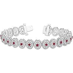 18k Gold Ruby Halo Vintage Bracelet