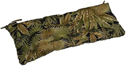 Resort Spa Home Decor Black Green Tan Tropical Palm Leaf Indoor Outdoor Tufted Cushion with Ties for Bench, Swing, Glider – Choose Size 60 x 18