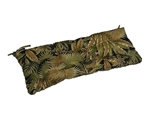 Black Green Tan Tropical Palm Leaf Indoor Outdoor Tufted Cushion with Ties for Bench, Swing, Glider – Choose Size 27 x 14