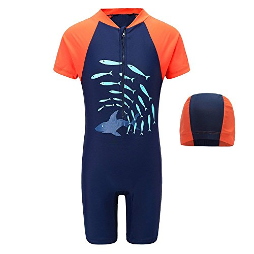Little Boys One Piece Swimsuits Short Sleeve Rash Guard Shirt Swimwear for Boys 4T