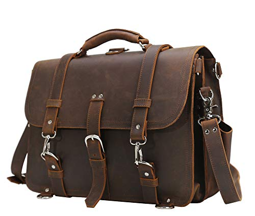 Texbo Men's 16 Inch Thick Cowhide Leather Briefcase Laptop Shoulder Messenger Bag ()