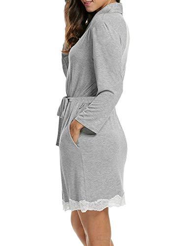 Largo Gasa Noche Dormir grau Mujer Calentamiento Suave Ropa Camisa Robe 3 Vestido Para Bata De Albornoz q4xCwgqRd