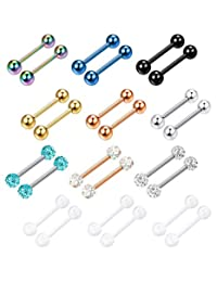 Finrezio 14G 12-18MM Stainless Steel Nipple Tongue Ring Barbell Nipplerings Body Piercing Jewelry 24PCS