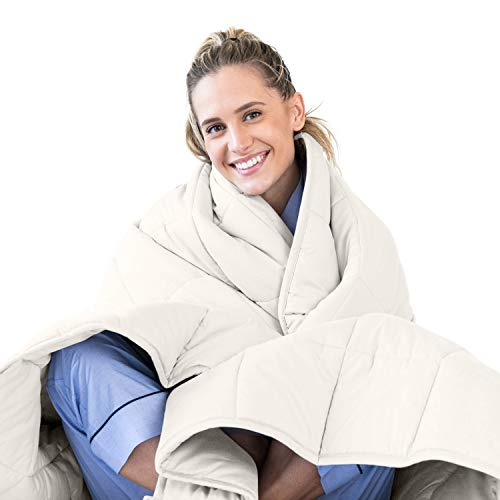 LUNA Weighted Blanket (15 lbs - 48x72 - Full Size) - Oeko-Tex Cooling Cotton & Premium Glass Beads - Designed in USA - Heavy Cool Weighted Blanket for Hot & Cold Sleepers - Kids or Adult - Ivory