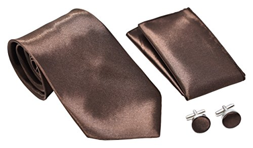 Kingsquare Solid Color Men's Tie, Pocket Square, and Cufflinks matching set (Brown)