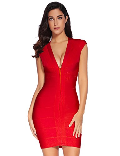 Meilun Women's Rayon Sexy V-Neck Party Clubwear Bandage Dress (X-Small, Red) - Herve Leger Bandage