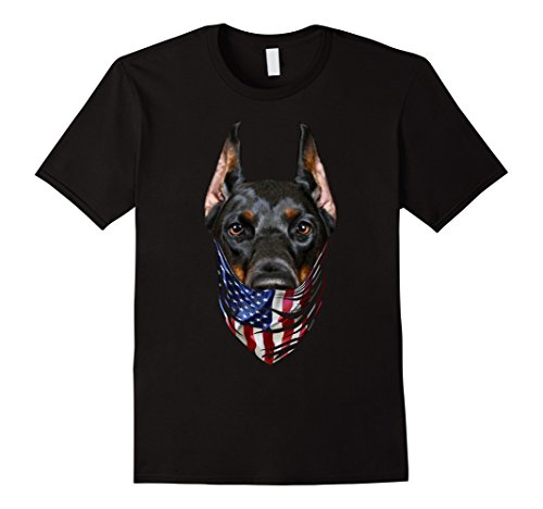 Mens Patriotic Doberman in USA America Bandana, Dog T-Shirt Large Black - Bandana Dog T-shirt