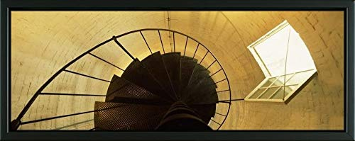 (Easy Art Prints Panoramic Images's 'Low Angle View of a Spiral Staircase of a Lighthouse, Key West Lighthouse, Key West, Florida, USA' Premium Framed Canvas Art - 24
