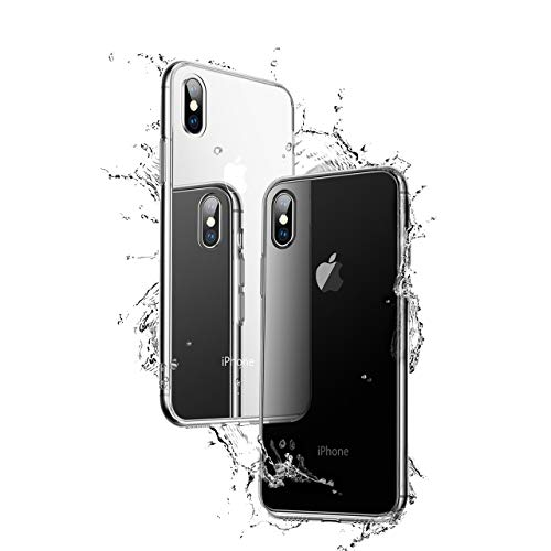 NganHing Case Compatible iPhone X Tempered Glass Cover+ TPU Soft Silicone Bumper Reinforced Corners Shock Absorption Anti-Scratch HD Clear Back by NganHing