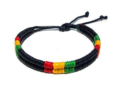 Hippie Cord Hemp (Rasta Friendship Bracelet - Black Rasta Cord Bracelet Plaided Hippie Cotton Braided Bob Marley Wristband)