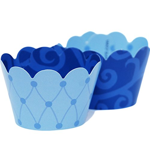 MINI Light Baby Blue Cupcake Wrappers Royal Scroll Patterned, Treat Packaging, 24 Wraps, Confetti Couture Party Supplies