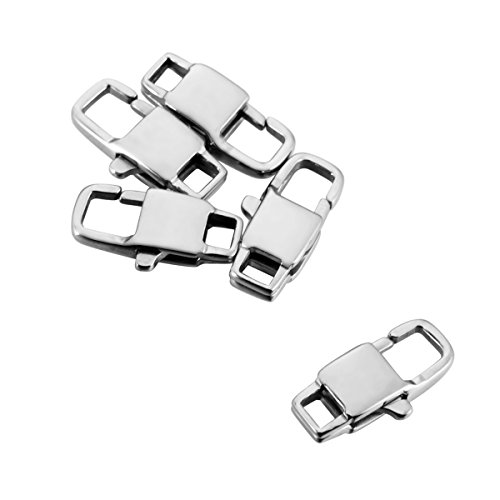 (HOUSWEETY Stainless Steel Jewelry Finding 5pcs Silver Tone Lobster Clasps Findings 15mmx7mm(5/8