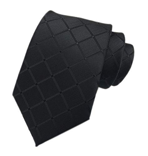 (Ties for Men Boys Classic Mens Necktie for Business Solid Color Black Checks Tie)