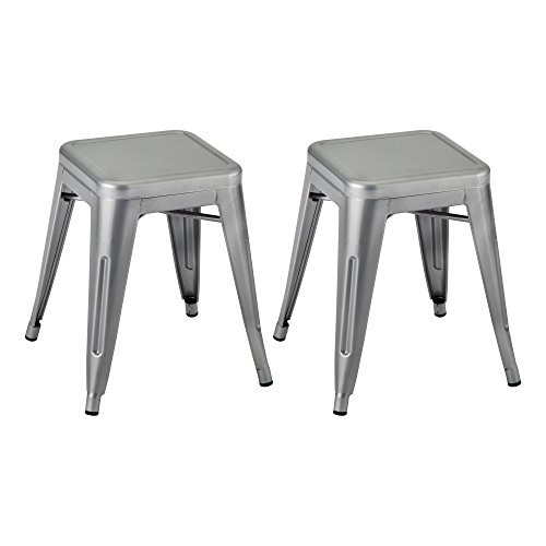 Norwood Commercial Furniture Tolix Style Metal Industrial Stack Stool, Silver, NOR-IAH3021-S-SO (Pack of 2)