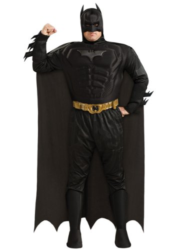 [The Dark Knight Batman Deluxe Muscle Chest Costume, Plus Size, Black, Plus] (Plus Size Batman Costumes)