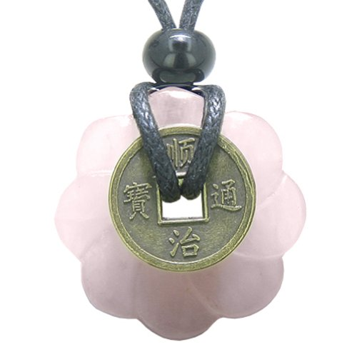 Lucky Coin Celtic Lotus Flower Amulet Love Power Rose Quartz 30mm Donut Pendant ()