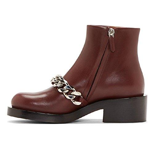 Nine Seven - Botas mujer burgundy-silver chain