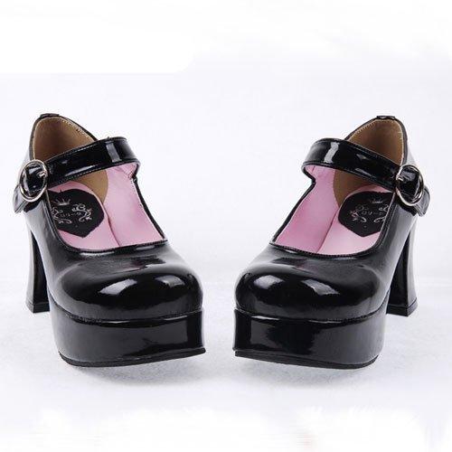ロリータ靴 LOLITA ヒール7.5cm 厚底 ブラック/レッド 2カラー ゴスロリ コスプレ靴 コスチューム 日常用靴 YY-SHOP (27cm  ブラック)
