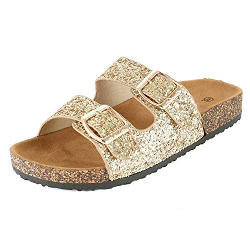 Womens Slippers Double Strap Easy Slip On Flip Flops Thong Casual Slides Sandals Flats (7 M US, Goldv2 Glitter)