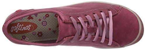 Softinos Womens Isla Washed Leather Flat Trainer Sneaker Shoe Cherry GcRLiA6