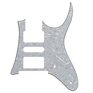 IKN 3Ply 7V Shedding Pickguard para Ibanez RG partes de guitarra, HSH Estilo 9 agujeros con tornillos, perla blanca: Amazon.es: Instrumentos musicales