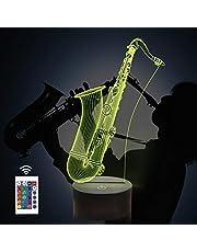 Saxofoon 3D lamp, CooPark saxofoon Illusion Hologram nachtlampje met 16 kleuren veranderen Afstandsbediening Dimmerfunctie, muziek thema Slaapkamerdecoratie Cadeaus voor jongens meisjes