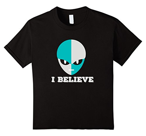 Kids Alien I Believe - Funny Scary Costume T Shirt 4 Black (Bigfoot Costumes For Kids)