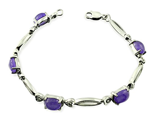 "Sterling Silver 925 TENNIS Bracelet GENUINE PURPLE JADE 7 Cts with RHODIUM-PLATED Finish, 6.5"" Long (purple-jade) - Jade Silver Mirror"