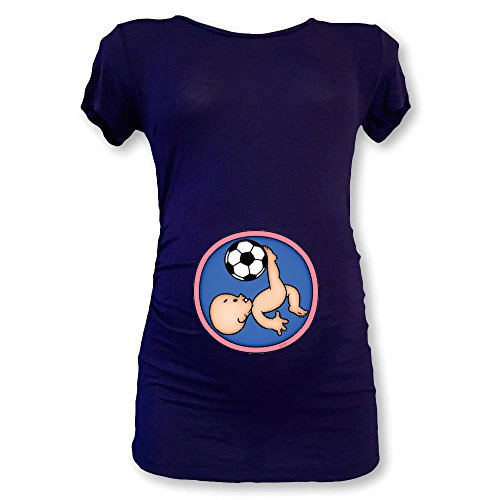 T Shirt Maglia Maglietta Premaman Bimbo in Rovesciata Blu
