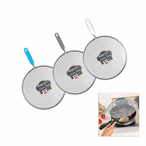 Jazooli Kitchen 24cm Mesh Splatter Guard Screen Cover Oil Spit Frying Pan Lid Handle - White