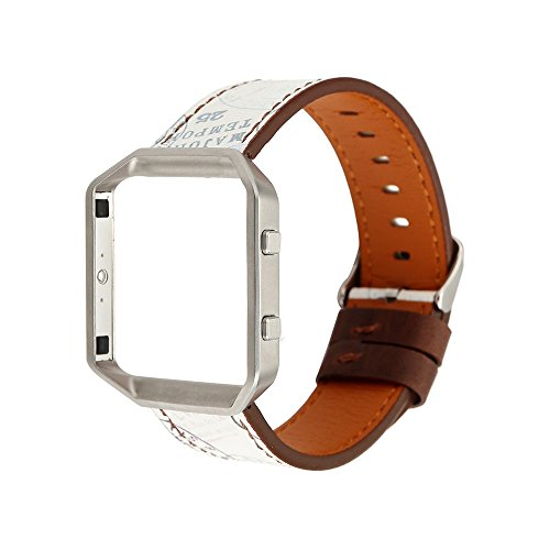 Bangle Bangles Shell (Sunbona for Fitbit Blaze Bracelet Strap, Durable Leather Note Envelope Printing Adjustable Sports Replacement Bangle Women Men Wrist Band + Watch Frame Shell (D))