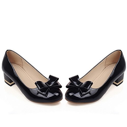 imitation pumps à balamasa Noir shoes Femme Round Toe enfiler cuir vXwvqRt0x