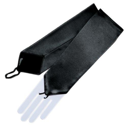 Elbow Length Satin Fingerless Gloves - ZaZa Bridal Stretch Satin Fingerless Gloves Below-The-Elbow Length 8BL-Black