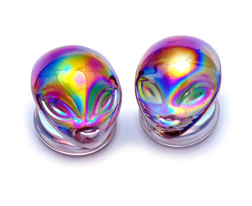 Mystic Metals Body Jewelry Pair of Iridescent Purple Alien Glass Plugs (PG-520) - Sold as a Pair (5/8