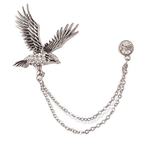 (S&E Men's Elegant Lapel Pin Badge with Chains Brooch Pin for Suit Tuxedo (Eagle))