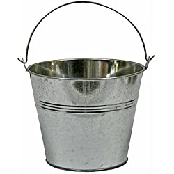 "Set of 2-Galvanized Metal Pail Buckets Size: 6"" Tall X 7-3/4"" Diam"