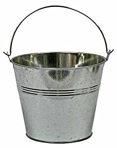 Set of 2 galvanized metal pail buckets size 6 for Galvanized metal buckets small