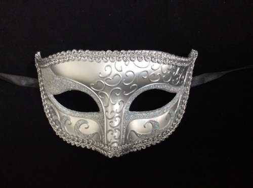 Men's Masquerade Mask Venetian Design Masks Silver Colored Perfect for Mardi Gras Majestic Party Halloween Ball (Ballroom Masks)