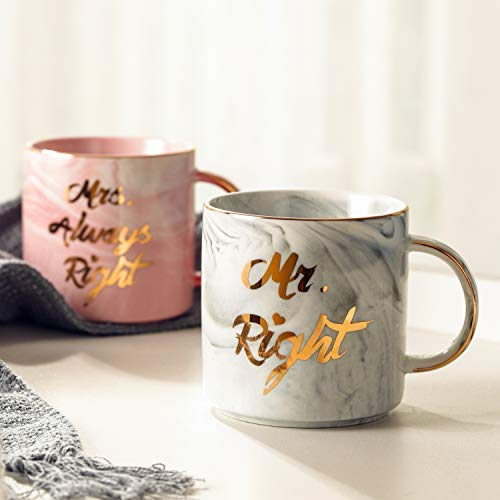 Luspan Mr. Right and Mrs. Always Right Funny Wedding Gifts - Gift for Bridal Shower Engagement Wedding and Married Couples - Anniversary Present for Husband and Wife - Ceramic Marble Cups 13oz