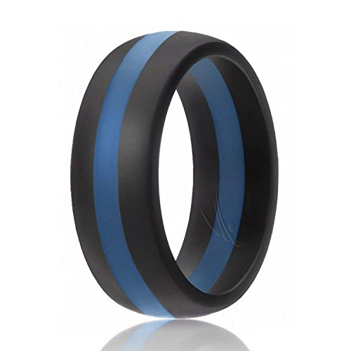 - ROQ Silicone Wedding Ring For Men, Silicone Rubber Band - Black With Blue Stripe, Size 8