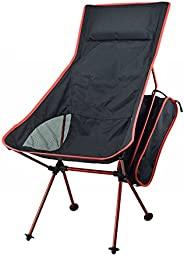 Portable Folding Camp Chair,Strong Aluminum-Alloy Stuck-Slip-Proof Feet with Mesh Pillow for Comfort - Ultra L