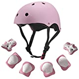 Dostar Kids Youth Adjustable 7Pcs Sports Protective Gear Set Safety Pad Safeguard (Helmet Knee Elbow Wrist) Roller Bicycle BMX Bike Skateboard Hoverboard and Other Extreme Sports Activities (pink) Review