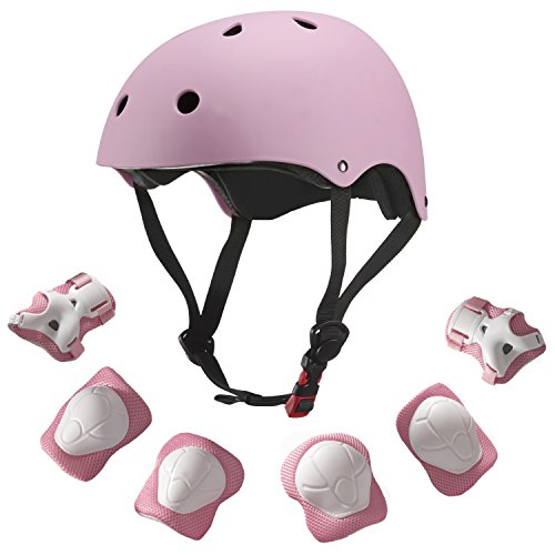 Dostar Kids Youth Adjustable 7Pcs Sports Protective Gear Set Safety Pad Safeguard (Helmet Knee Elbow Wrist) Roller Bicycle BMX Bike Skateboard Hoverboard and Other Extreme Sports Activities (pink)