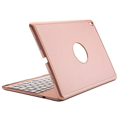 Deutsch iPad Pro 9.7 Tastatur, iEGrow Ultra-Thin iPad Hülle mit 7 Farben LED-Hintergrundbeleuchtung Bluetooth-Tastatur für Apple iPad Pro 9,7 Zoll [QWERTZ deutsches Tastaturlayout]