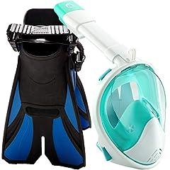 Snorkel Set Full Face with Swim Fins.