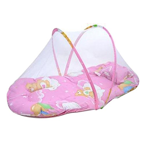 Dzt1968 Tm Baby Bed Cushion Portable Folding Crib Mattress With Mosquito Net Pink