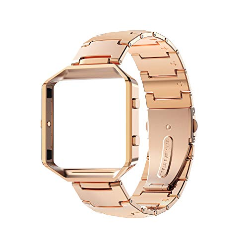 Wearlizer Compatible for with Fitbit Blaze Band Men Lux Band Accessories Metal Link Bracelet Replacement Strap Metal Frame Replacement Fitbit Blaze Polished Rose Gold