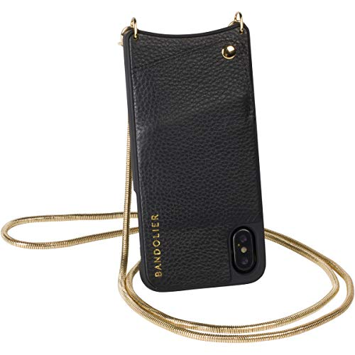 Bandolier [Belinda] Crossbody Phone Case and Wallet - Compatible with iPhone X & XS - Black Pebble Leather with Gold Detail