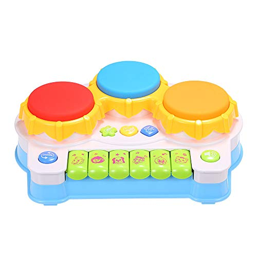 (TKI-S Hand Drum Toy with 6 Piano Keyboards, 3 Hand Drums and 3 Musical Instrument Buttons Drum Music Piano Gift for One Year Old Toddler)
